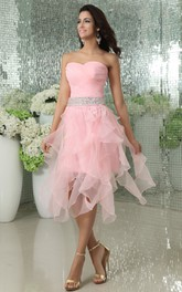 Organza Pleated Short Dress With Cascading Ruffles