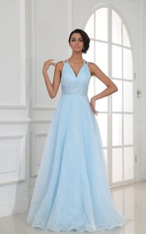 Sexy V-Neck Halter Chiffon A-Line Gown With Sequined Waist