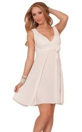 Sleeveless V-neck Chiffon Short Dress