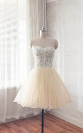 Short Sweetheart A-line Dress With Crystal Detailings