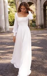 Simple Modest Square A Line Floor-length Sweep Train Long Sleeve Wedding Dress
