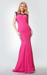 Sweetheart A-line Long Chiffon Dress With Criss Cross Ruching