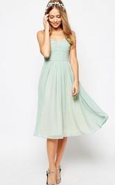 Tea-Length A-Line Ruched Sleeveless Spaghetti Chiffon Bridesmaid Dress