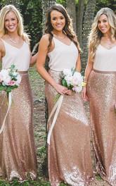 Sequins Chiffon Floor-length Sheath Sleeveless Simple Bridesmaid Dress