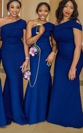 Satin Floor-length Brush Train Trumpet Sleeveless Casual Bridesmaid Dress