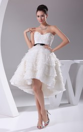 Sweetheart Appliqued High-Low Lace Wedding Dress Open Back