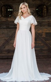 Casual V-neck Chiffon A Line Floor-length Brush Train Short Sleeve Wedding Dress with Ruffles