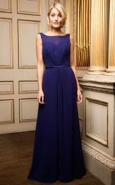 Bowed Sleeveless Bateau Neck Chiffon Bridesmaid Dress With Deep-V Back