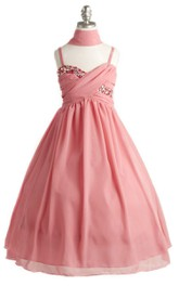 Sleeveless Dress With Criss-cross Ruching and Sequins