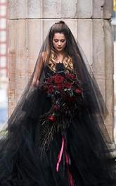 Black Ethereal Puffy Long Wedding Veil