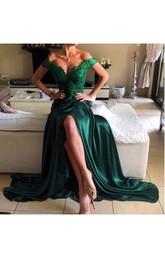 A-line Appliques Lace Split Long Jersey Dress