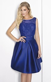Short A-Line Scoop Neck Sleeveless Beaded Satin Prom Dress