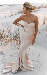 Mermaid Sweetheart Sleeveless Bell Poet Ruffles Sweep Train Backless Jersey Satin Dress