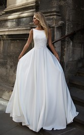 Elegant Satin Bataeu-neck Sleeveless Bridal Gown with Applique