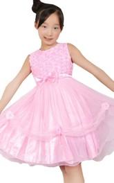 Sleeveless A-line Dress With Flroal Bodice