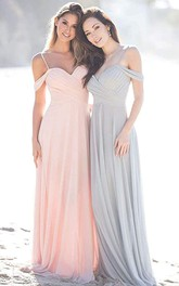 Off-the-shoulder A Line Sleeveless Floor-length Chiffon Bridesmaid Dress With Ruching