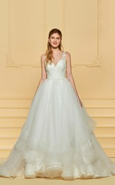 Sleeveless Adorable Lace Cute Wedding Dress With Ruflles And Illusion Button Back