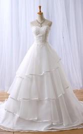 A-Line Long Sweetheart Appliques Chapel Train Zipper Lace-Up Back Tulle Lace Dress