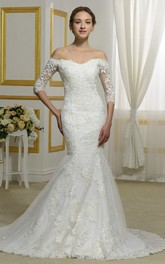 Off-the-shoulder Lace Elegant 3/4 Sleeve Mermaid Wedding Dress With Illusion Button Back