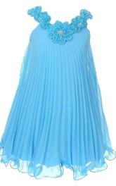 Sleeveless V-neck Pleated Dress With Flowers