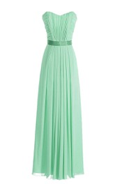 Sweetheart Pleated Chiffon A-line Gown With Satin Sash