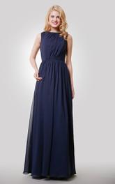 Sleeveless Chiffon Pleated Floor Length Dress With Keyhole Back