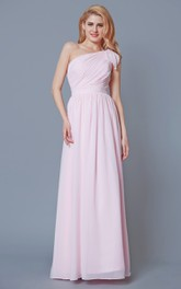 Simple Knotted One Shoulder Long Chiffon Dress With Pleats