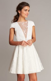 Casual Jewel Satin Lace A Line Short Sleeve Short Wedding Dress with V Back