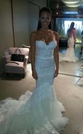 Sweetheart Slim Corset Bodice Tulle Trimed Lace Mermaid Wedding Dress
