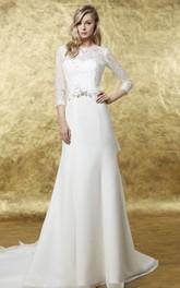 A-Line 3-4 Sleeve High Neck Floral Chiffon Wedding Dress