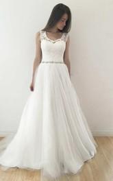 V-Neck Sleeveless A-Line Tulle Pleated Wedding Dress With Keyhole And Beaded Waist