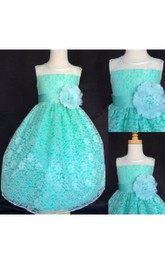 Illusion Neckline Sleeveless A-line Lace Dress Ankle Length With Flower Sash