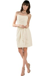 Short Pencil Strapless Draped Chiffon Muti-Color Convertible Bridesmaid Dress
