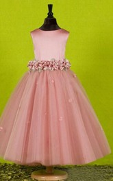 A-line Scoop Sleeveless Bowknot Floor-length Tulle Flower Girl Dresses