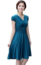 Cap-sleeved Knee-length Dress With Ruching