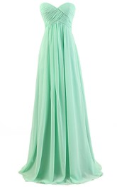 Sweetheart Ruched Chiffon Empire Gown With Zipper Back