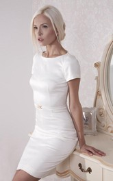 Short Sleeve Sheath Satin Dress With Jewel Neckline