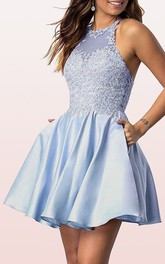 Satin Lace Mini A Line Sleeveless Adorable Homecoming Dress with Pleats