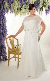 Chiffon Short-Sleeve Sheath Dress With Beading And Sweep Train