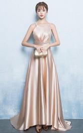 Satin Floor-length Brush Train A Line Sleeveless Modern Formal Dress with Pleats