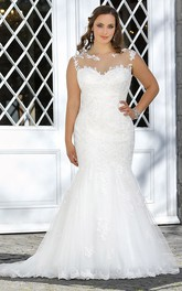 Mermaid Floor-Length Bateau Neck Sleeveless Lace Sweep Train Deep-V Back Appliques Dress