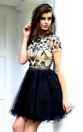 A-Line Scoop Short-Sleeve Beaded Short Prom Dress With Keyhole Back And Ruffles