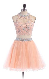 A-line Short High Neck Tulle Dress with Beadings