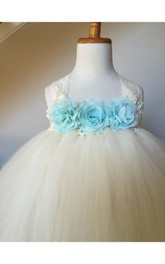 Halter Floral Empire Bodice Tulle Ball Gown With Back Bow