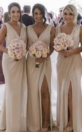 Sexy Sleeveless Sheath Deep V-neck Front Split Bridesmaid Dress With Ruching
