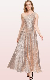 Vintage One-shoulder A Line Sleeveless Ankle-length Sequins Bridesmaid Dress With Ruching