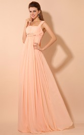 Chiffon Empire Floor-Length Dress With Pleating and Straps
