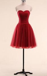 Mini A-line Sweetheart Sleeveless Pleats Tulle Dress