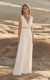 Sleeveless Chiffon Plunging Wedding Dress With Open Back And Lace Details