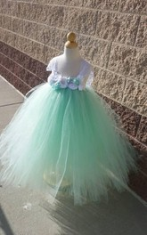Lace Cap Sleeve Floral Empire Waist Tulle Ball Gown With Ruffles and Sash